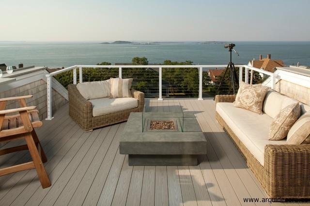 Tarima Exterior Gris Terraza Casa Playa Arquitectura Y